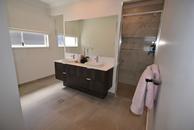 Southern Queensland Waterproofing - Brisbane & Gold Coast - Waterproofed Brown & White Bathroom